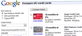 Google offers UK credit-card comparison site