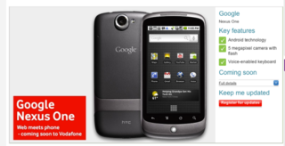 Vodafone moves a step closer to selling Nexus One