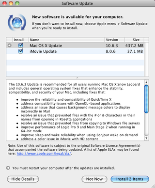 Apple updates OS X to 10.6.3