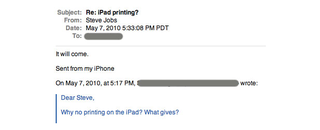 "iPad printing ""will come"" says Apple CEO"