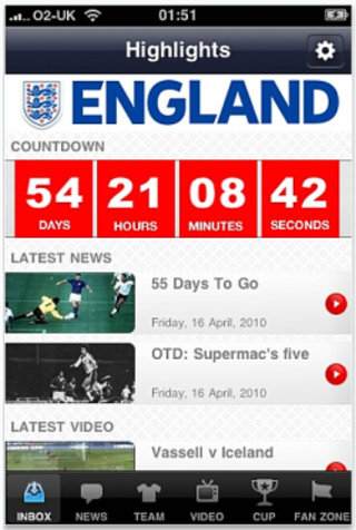 APP OF THE DAY - The Official England Application (iPhone, iPod touch)