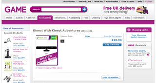 Xbox 360 Kinect only £10 at GAME