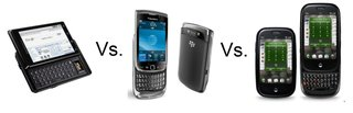 BlackBerry Torch vs Motorola Milestone vs Palm Pre Plus