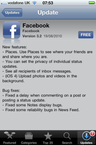Facebook iPhone app updated, but outside of US can't check in