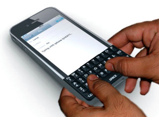 iPhone QWERTY keyboard on horizon
