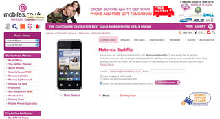 Motorola Backflip UK bound says online shop