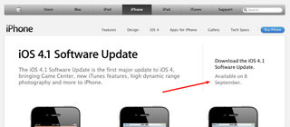 iOS 4.1 download ready in UK on 8 September