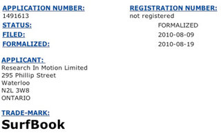 RIM Surf Book trademark filed
