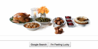 Google Doodle Thanksgiving meal set on the table