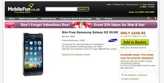 Samsung Galaxy S II: £549 coming 4 March, says retailer