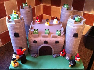 Angry Birds birthday cake - a towering success
