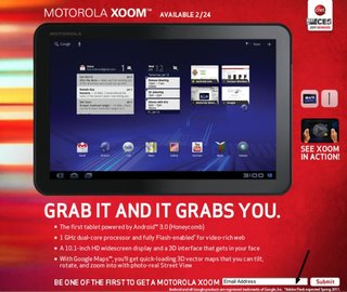Motorola Xoom launching without Flash, update coming later