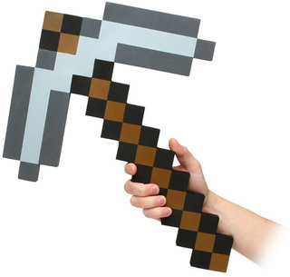 Mining at home, with the Minecraft foam pickaxe and sticky note block