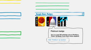 Google News fans earn badges for reading stories
