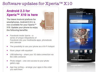Sony Ericsson Xperia X10 Gingerbread update finally arrives
