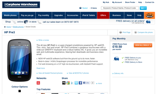 Vodafone Palm Pre 3 on sale at Carphone Warehouse