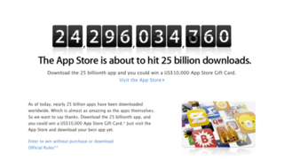 Apple launches '25 billion app countdown' promotion; winner to get.