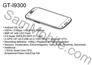 Samsung Galaxy S3 specs revealed in leaked service manual