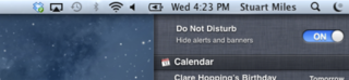 OS X Mountain Lion adds Do Not Disturb option for notifications