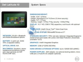 Dell Windows 8 tablet specs revealed