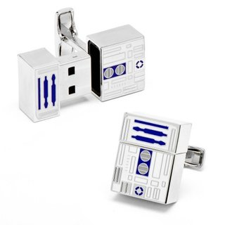These aren't the cufflinks you are looking for: Show you're a fan with Star Wars R2D2 USB cufflinks