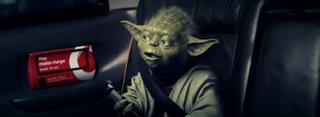 Yoda catches a black cab but gets confused by Vodafone's universal charger (video)