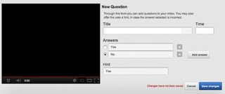 YouTube testing multiple choice question and answer feature