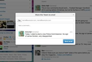 Email tweet button added to Twitter.com