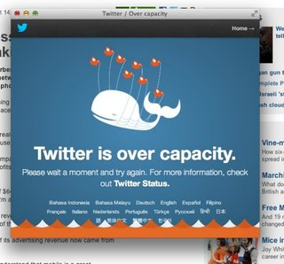 Twitter down, the fail whale returns (Update: Now back)