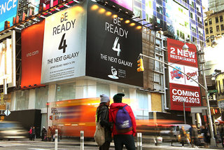 New Yorkers told to get ready for Samsung Galaxy S4 launch, signs appear above Times Square venue