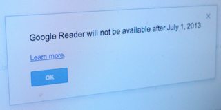 Google shutting down Google Reader on 1 July, part of cleaning initiative