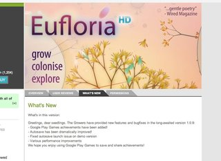 Google Play Games service confirmed by Eufloria HD app