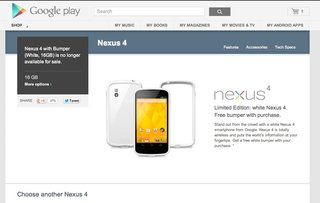 white nexus 4 not only sells out but is now no longer available image 2