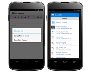 Yahoo! Mail for Android updated with Dropbox attachments integration
