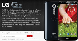 verizon sign up page for the lg g2 confirms qi wireless charging exclusivity image 2