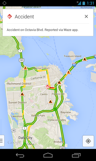 google maps and waze integrate real time traffic reports land in maps waze adds search image 3