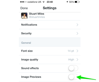 turn off the just announced media previews within twitter s mobile app image 2