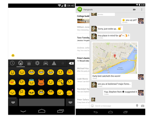 google adds sms to hangouts android app emoji to kitkat keyboard image 2