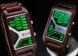 TokyoFlash Kisai Console Wood watch is one futuristic version of nature
