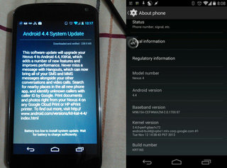 Nexus 4 gets Android 4.4 KitKat, rollout begins