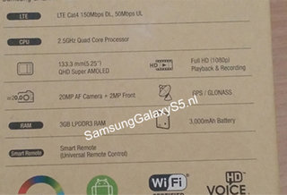 Samsung Galaxy S5 box snapped revealing 20MP camera, 3GB RAM and 5.25-inch 2560 x 1440 display