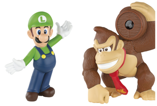 Super Mario-themed toys jumping into McDonald's Happy Meals
