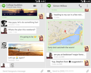 Google's Hangouts for Android app now merges text and chat messages