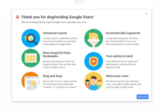 Google Stars bookmark service with images, folders, and filters revealed in leaked video