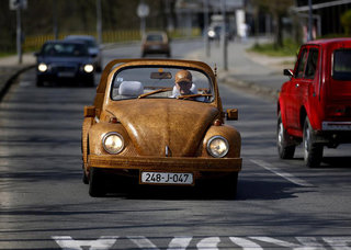 This VW Beetle is made from hand-carved oak and it's one of a kind