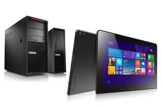 Lenovo ThinkPad 10 tablet and ThinkStation P300 desktop shown off