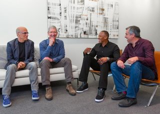 Tim Cook, Jimmy Iovine, and Dr Dre talk next steps in Apple Beats buyout