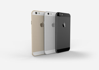 Apple iPhone 6 compared in gold, space grey and silver renders