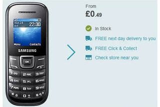 This Samsung E1200 mobile phone costs a ridiculously cheap 49p