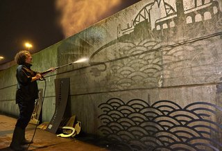nissan leaf powers reverse graffiti street art in waterloo image 2